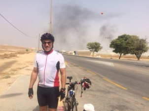 Me at the West Bank - the smoke is from a farm - nothing more!